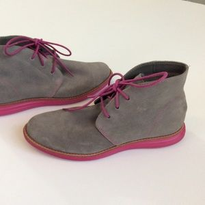 Cole Haan Grey Pink Suede Booties Ankle Boots 6.5
